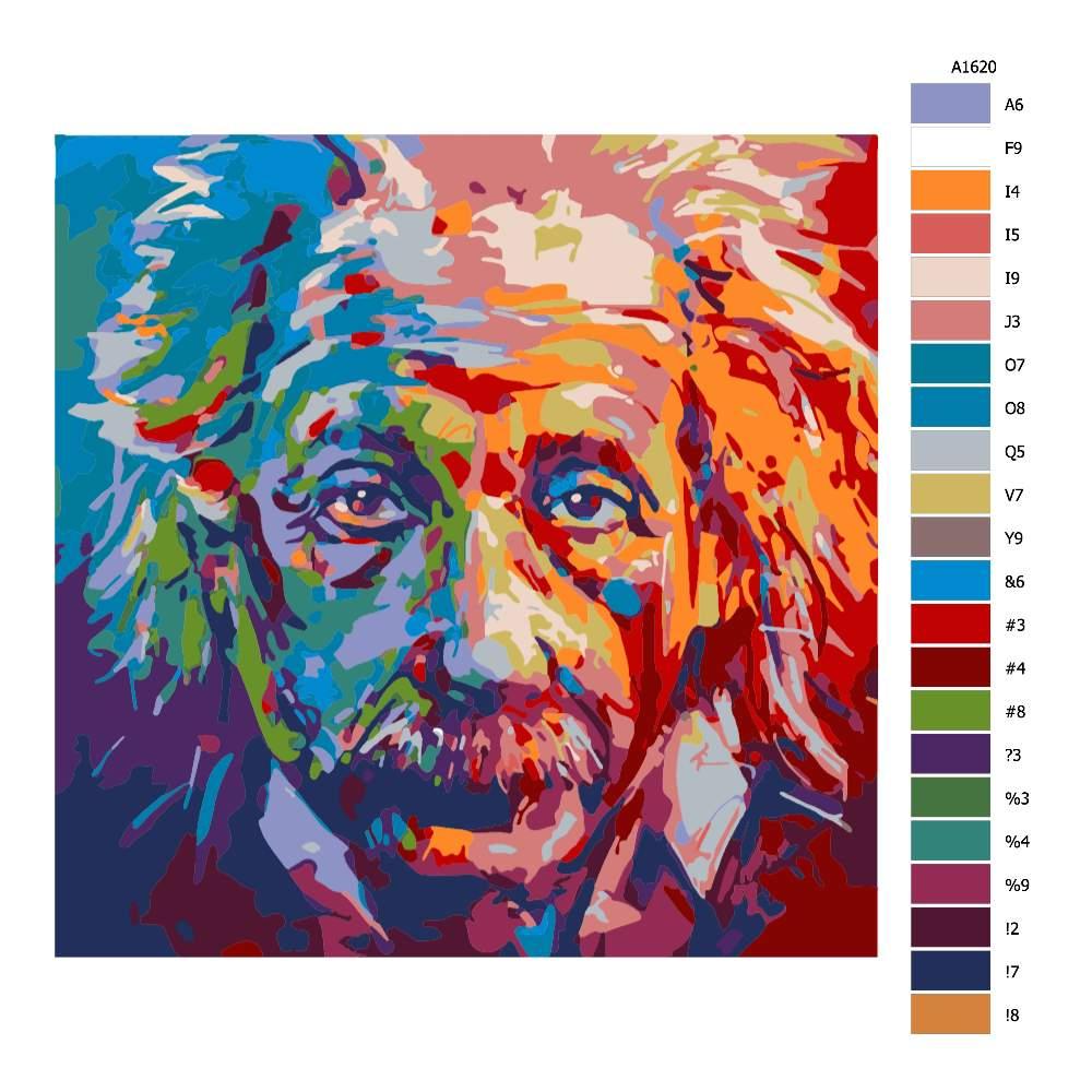 Návod pro malování podle čísel Albert Einstein v barvách