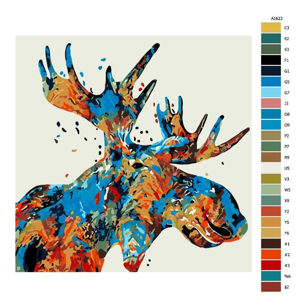 Malování podle čísel Sobí hlava v barvách