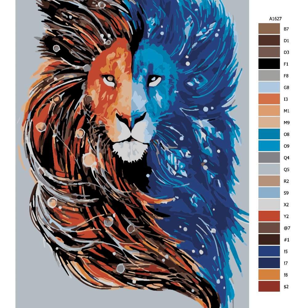 Návod pro malování podle čísel Lví hlava ve dvou barvách