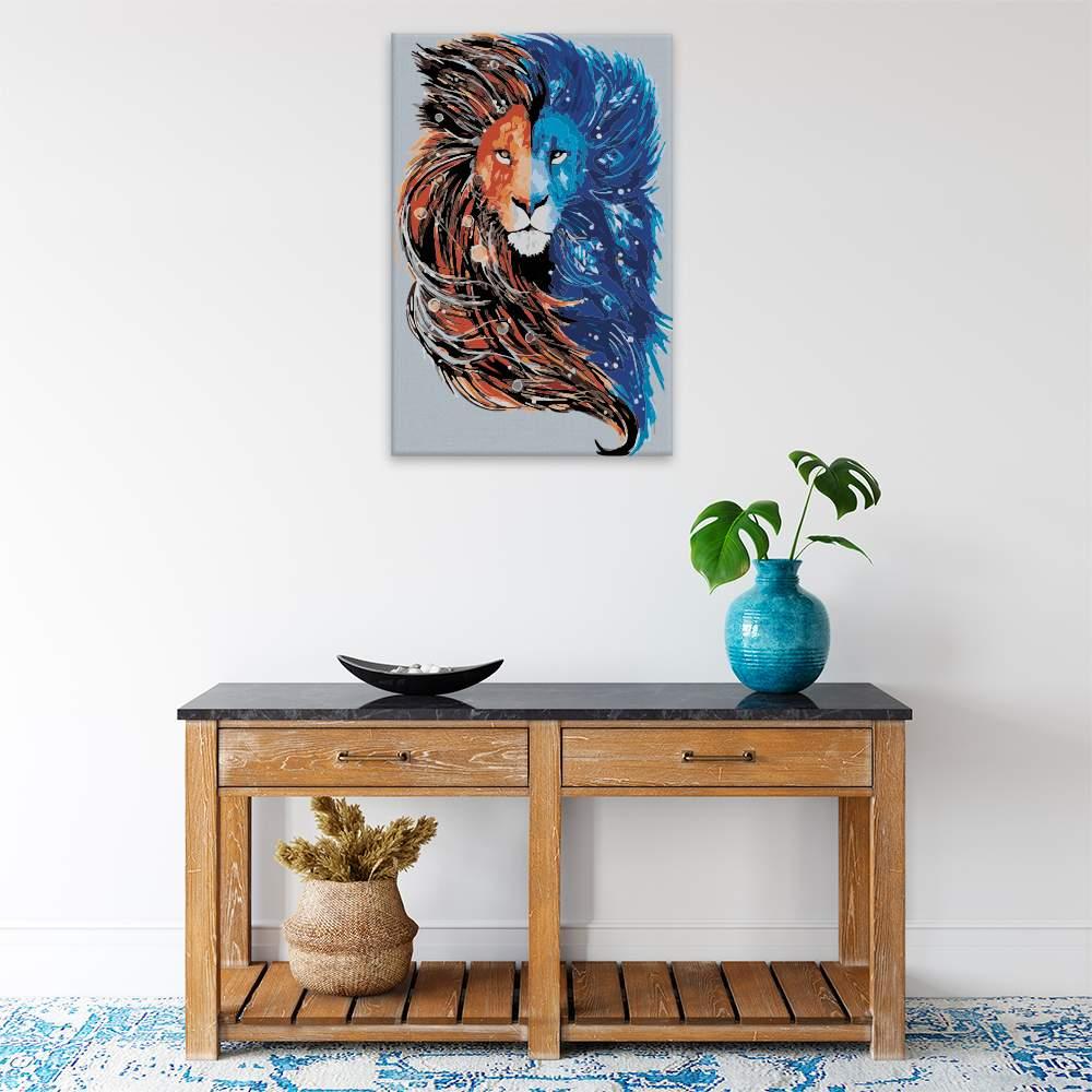 Malování podle čísel Lví hlava ve dvou barvách