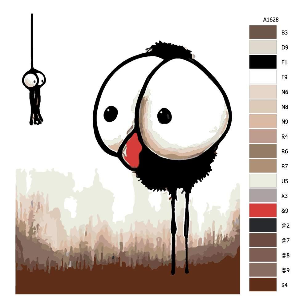 Návod pro malování podle čísel Vykulené oči komix