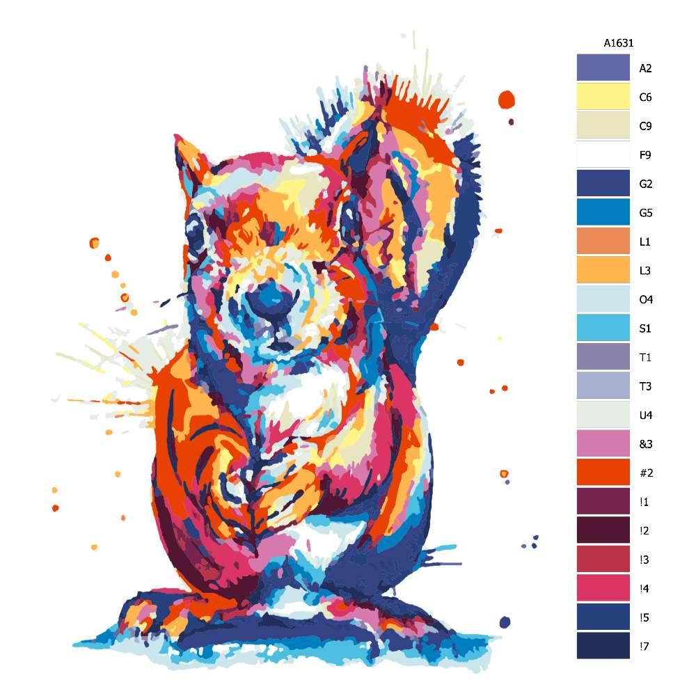 Malování podle čísel Veveruška v barvách