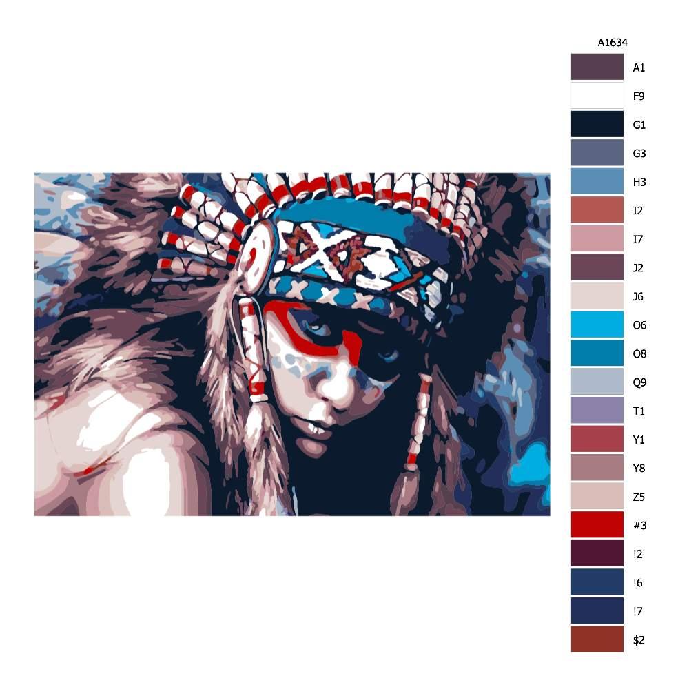 Návod pro malování podle čísel V očích indiána