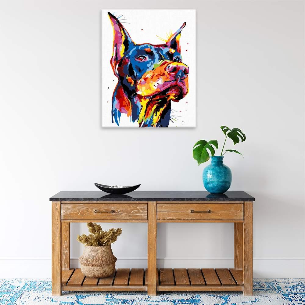 Malování podle čísel Dobrman v barvách