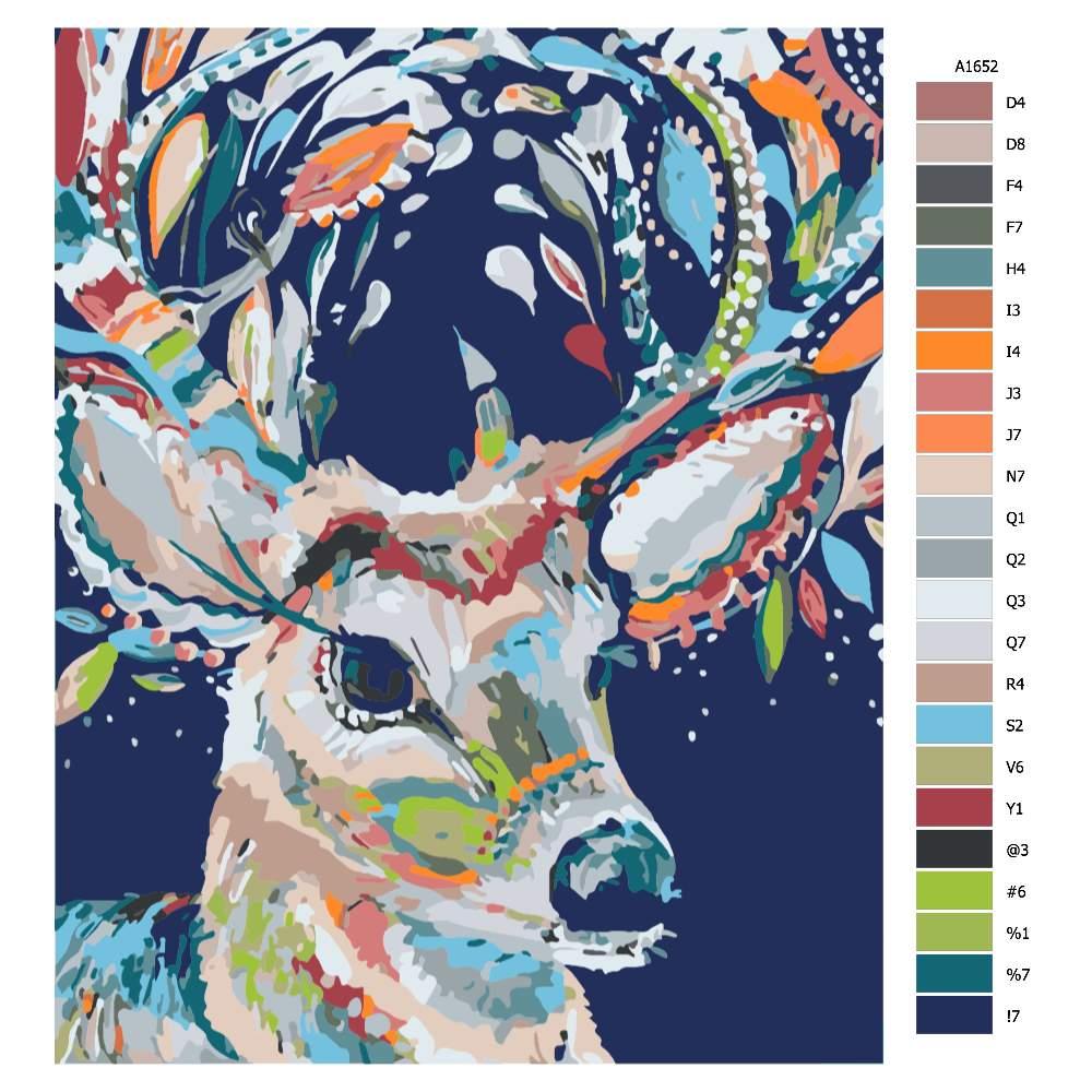 Návod pro malování podle čísel Karnevalový jelen