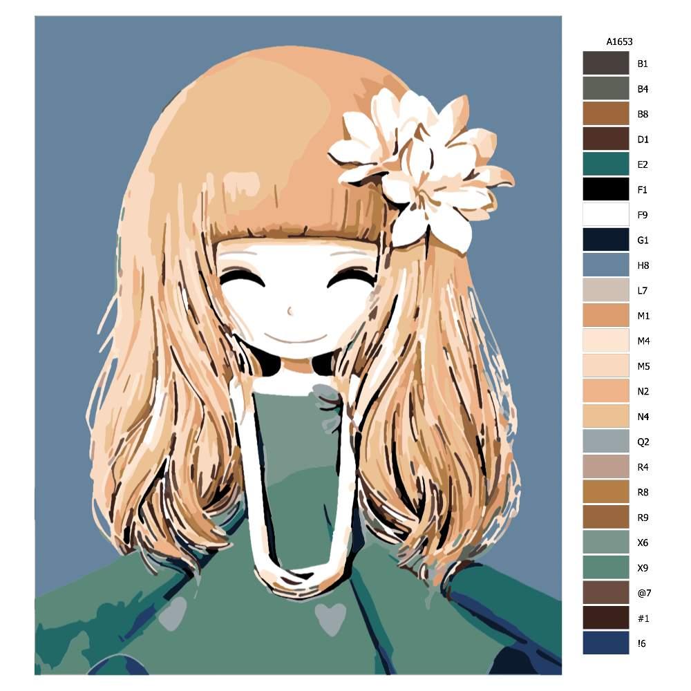 Návod pro malování podle čísel Malá princezna s kytkou ve vlasech
