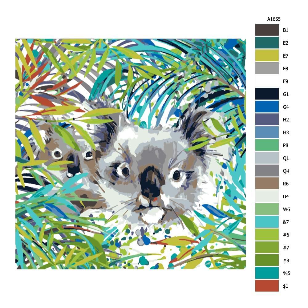 Návod pro malování podle čísel Koaly v zátiší