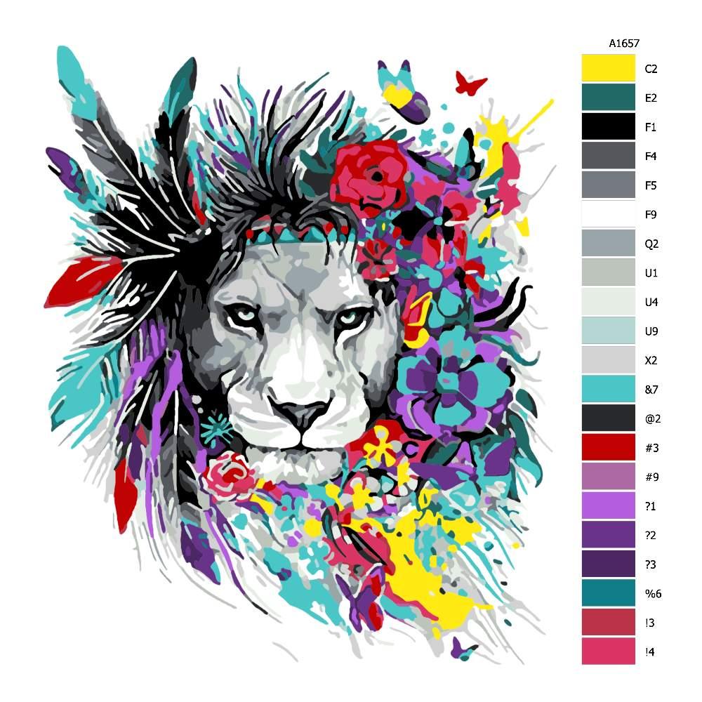 Návod pro malování podle čísel Lvice s květinovou hřívou
