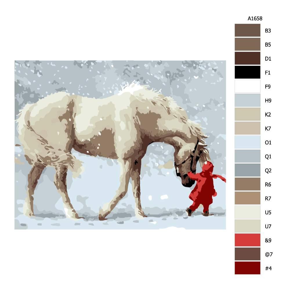 Návod pro malování podle čísel S koněm ve sněhu