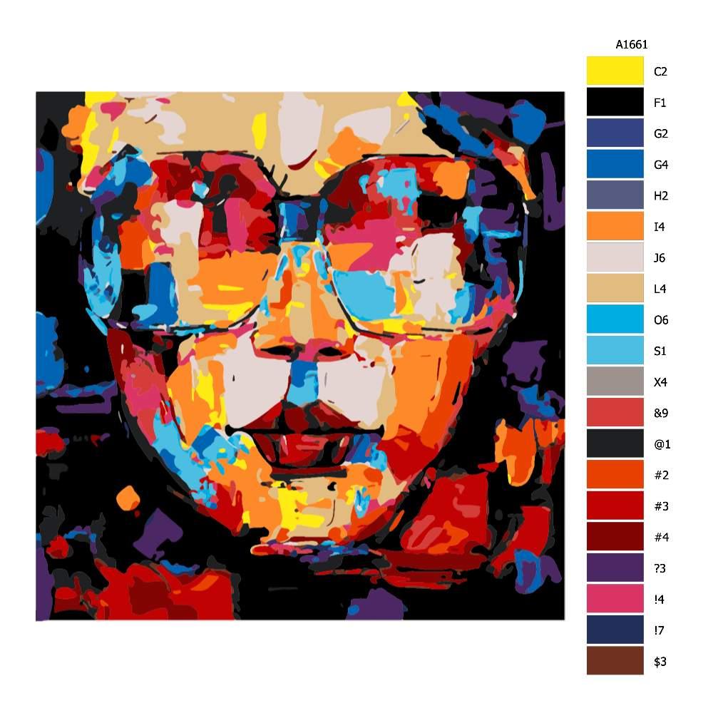 Návod pro malování podle čísel S brýlemi