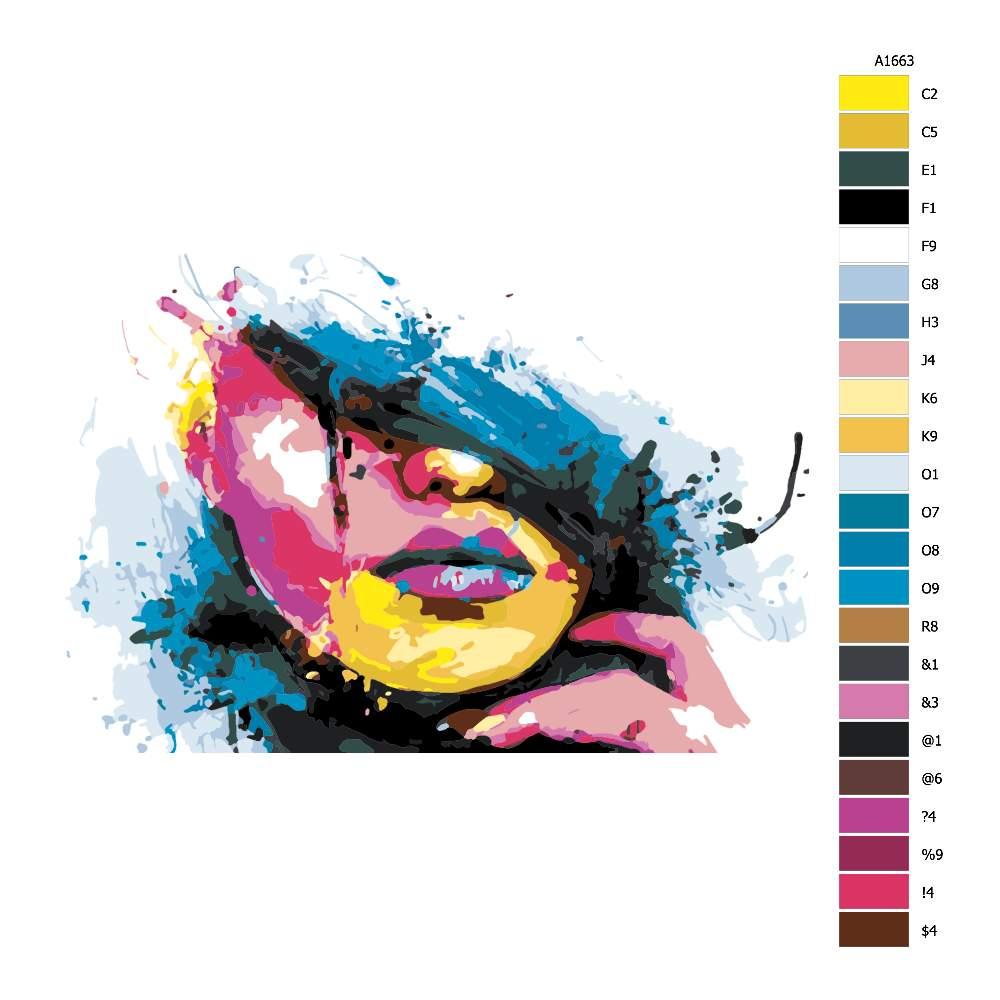 Návod pro malování podle čísel Z části zakrytá v barvách