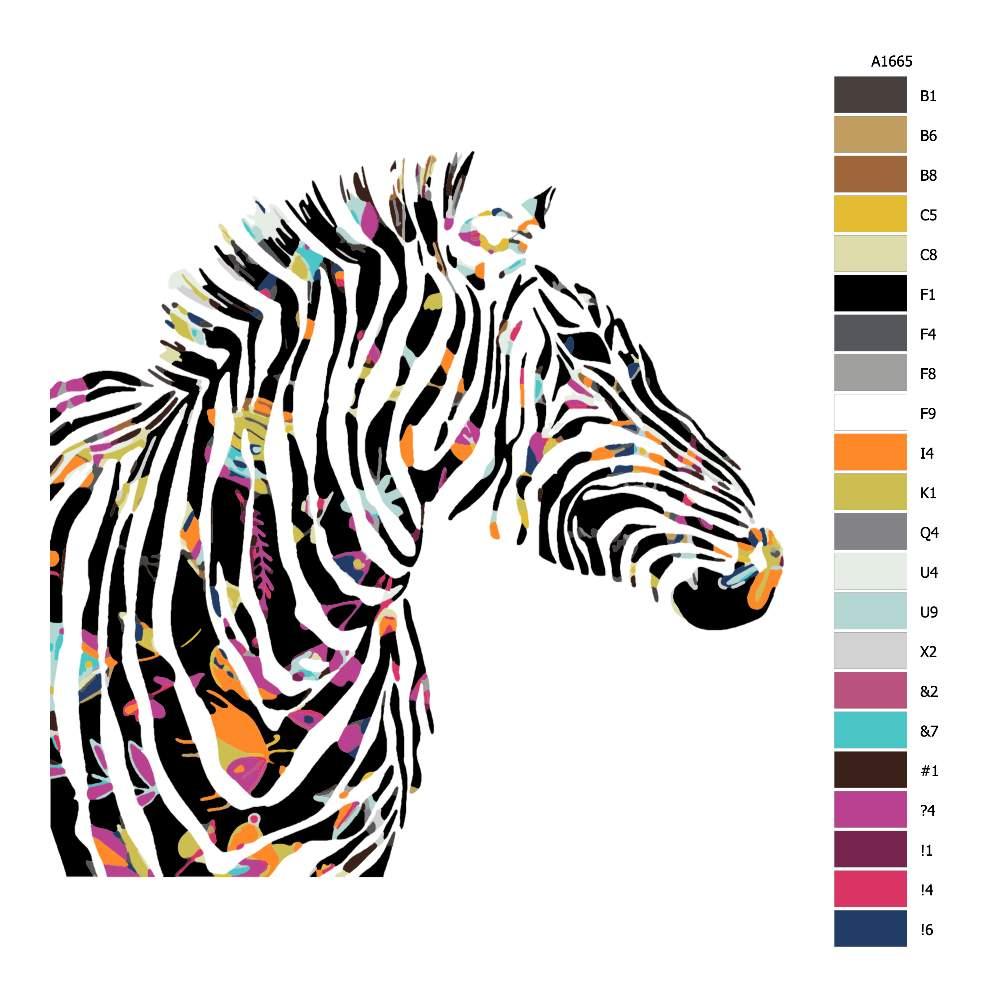 Návod pro malování podle čísel Zebra s květovanými pruhy