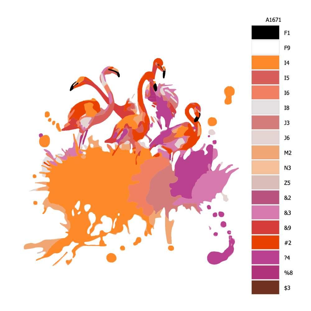 Návod pro malování podle čísel Pět plameňáků
