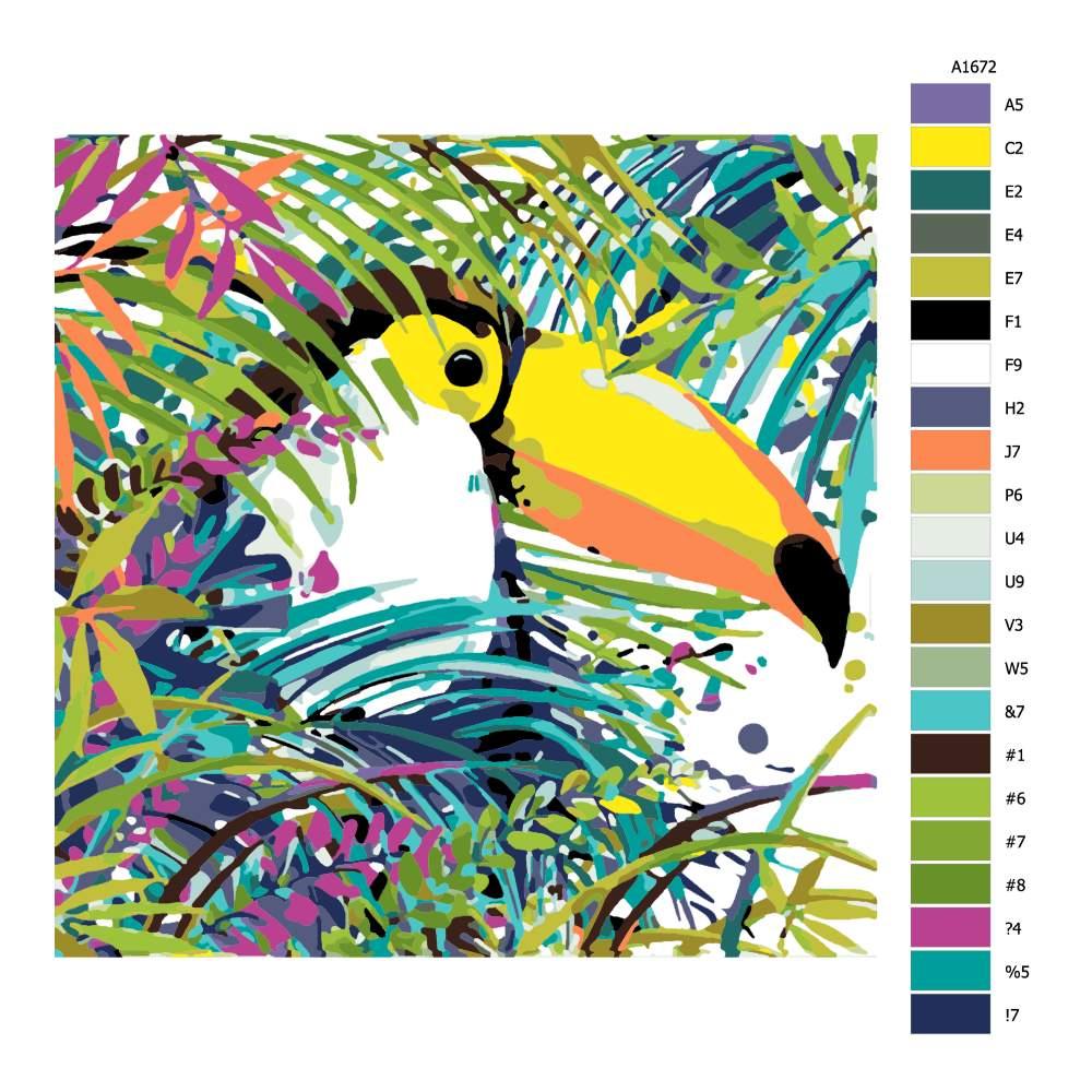 Návod pro malování podle čísel Tukan v korunách stromů