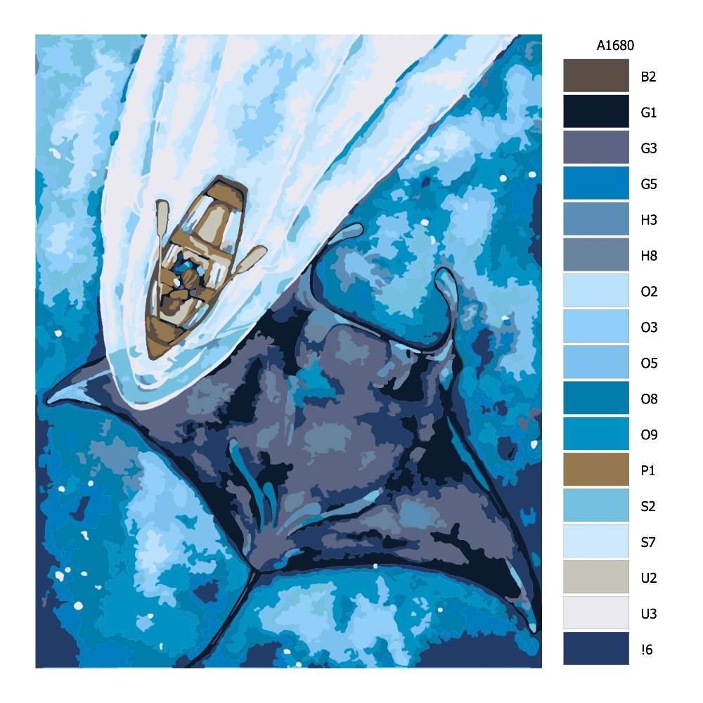 Návod pro malování podle čísel Rejnok a loďka
