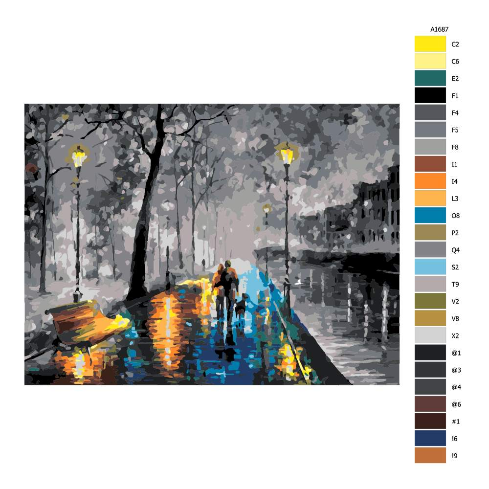 Návod pro malování podle čísel Procházka po barevném chodníku