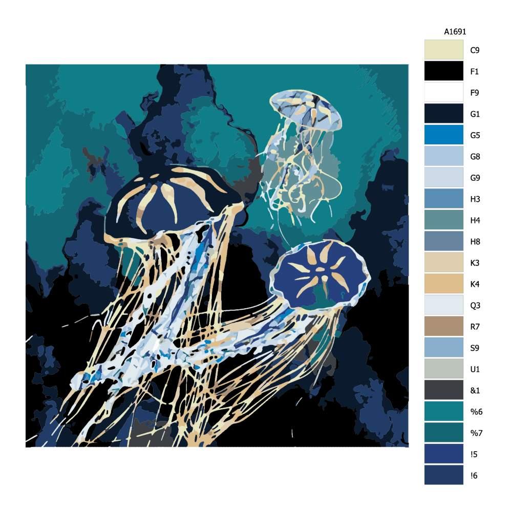 Návod pro malování podle čísel Zlatě zářící medúzy