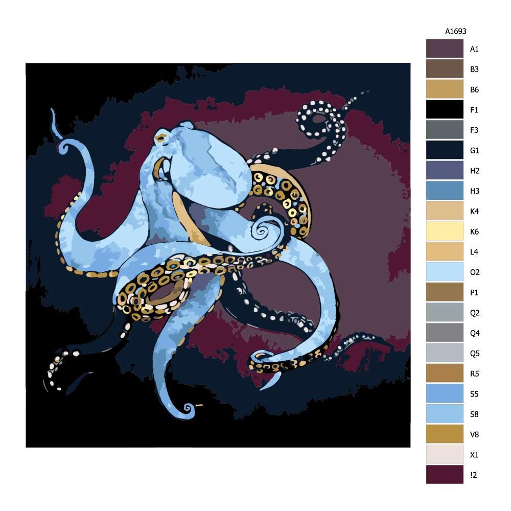 Návod pro malování podle čísel Modrá chobotnice