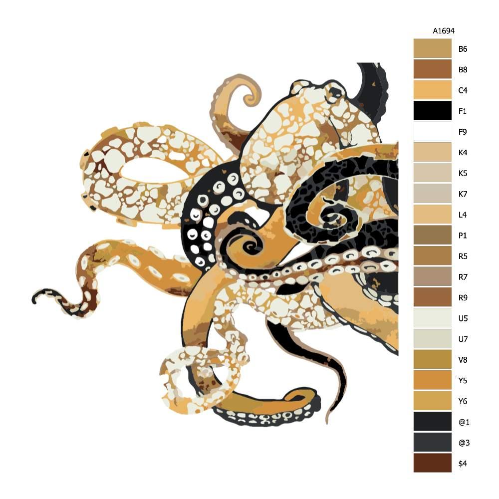 Návod pro malování podle čísel Chobotnice