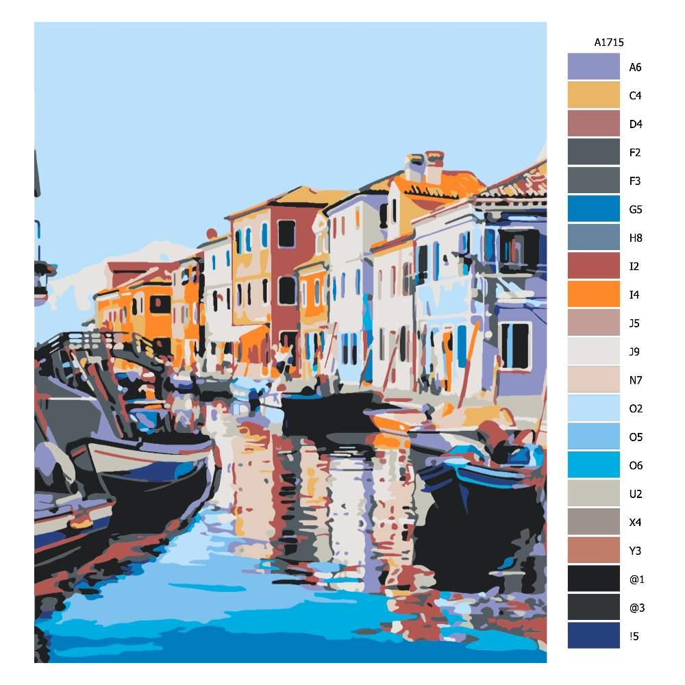 Návod pro malování podle čísel Ranní Benátky
