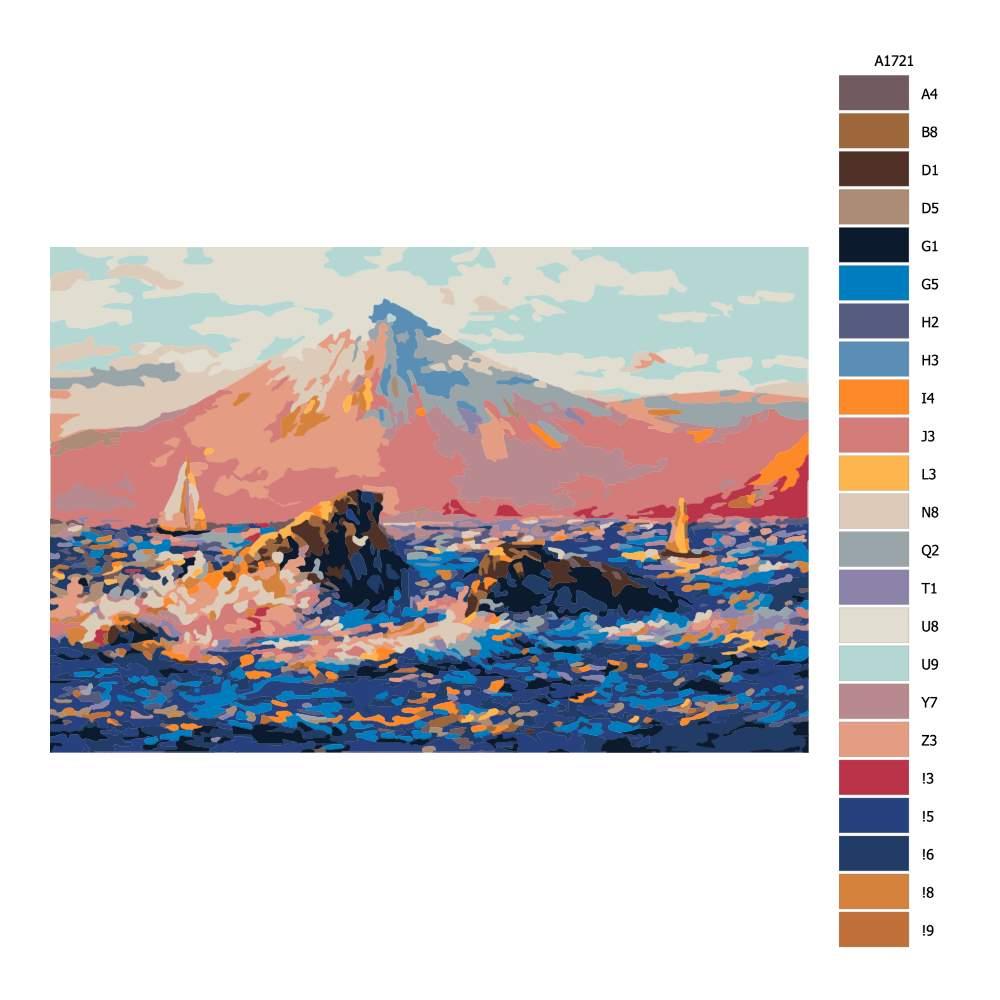 Návod pro malování podle čísel Sopka v pozadí