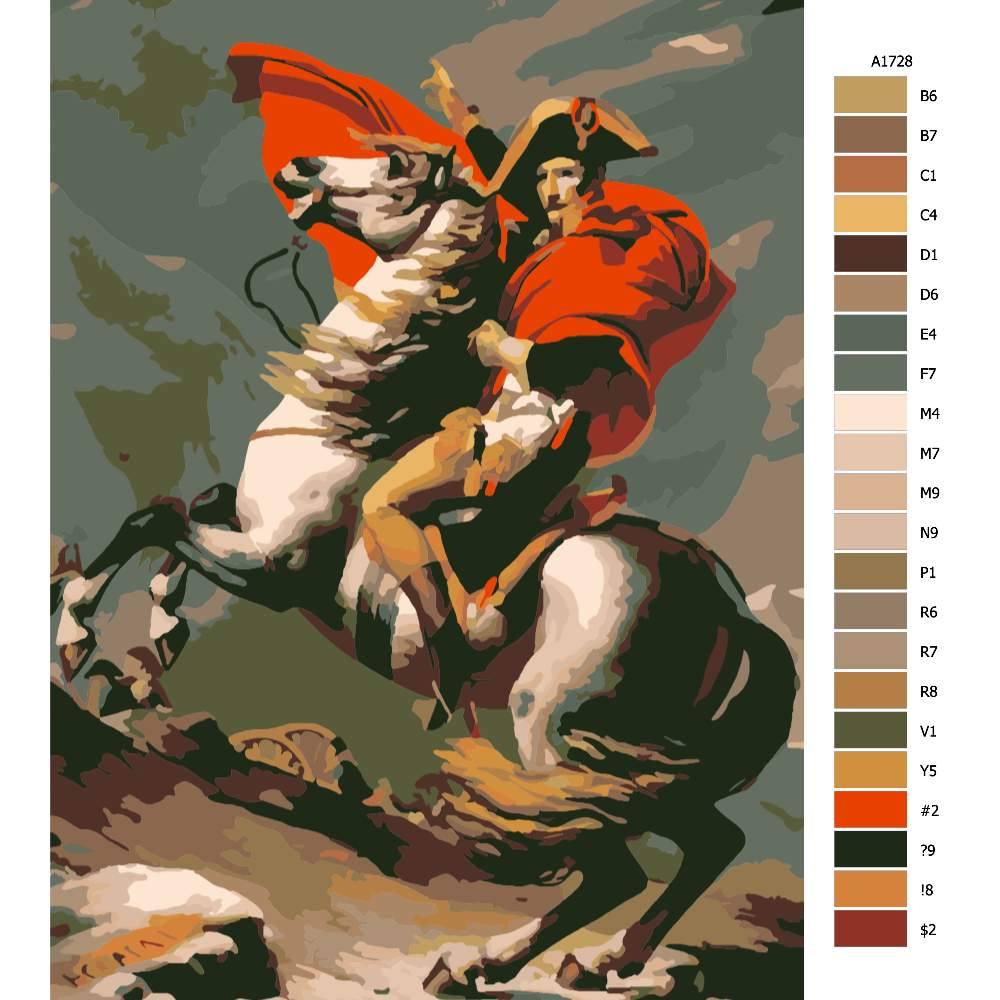 Návod pro malování podle čísel Napoleon v boji