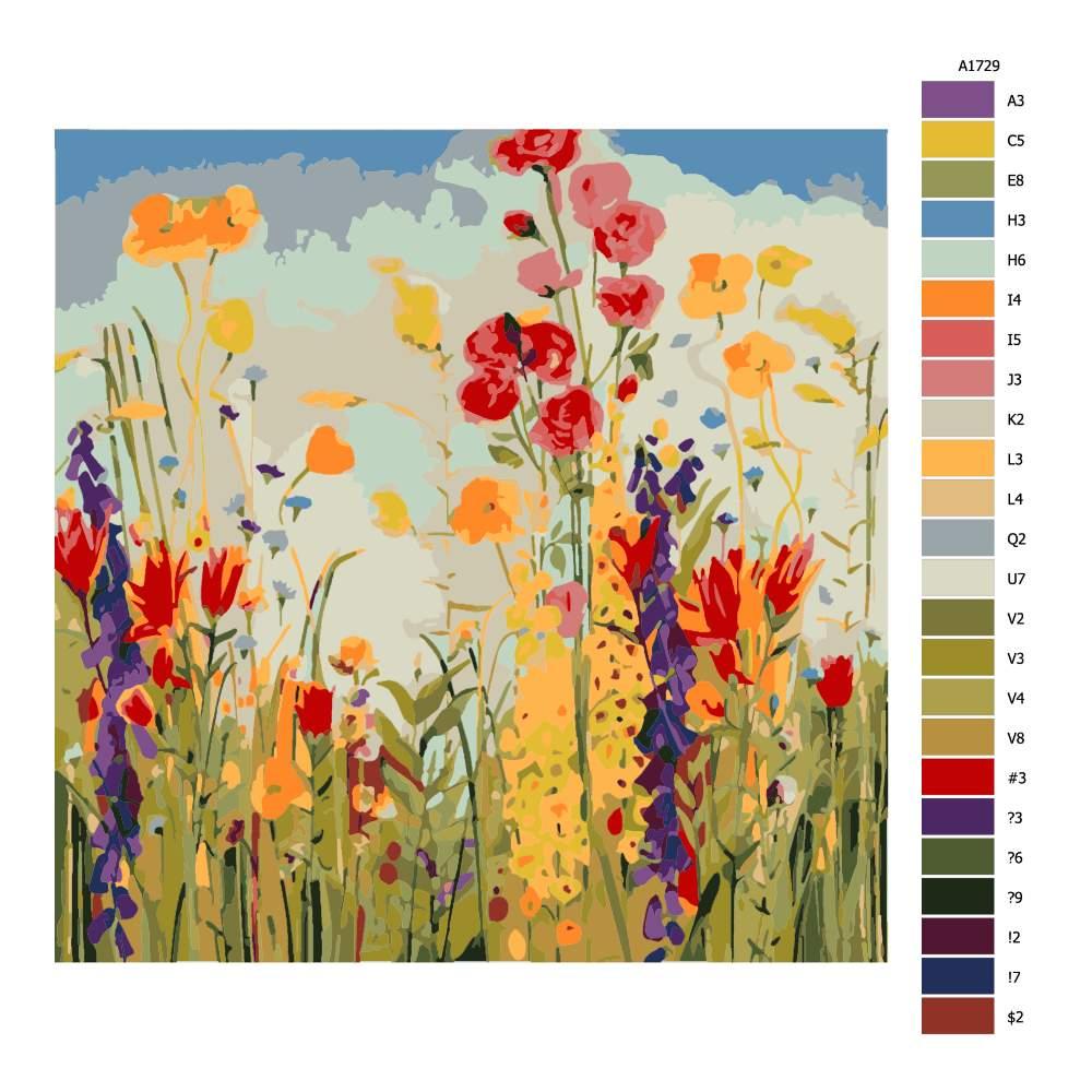 Návod pro malování podle čísel Polní kvítí s modrou oblohou