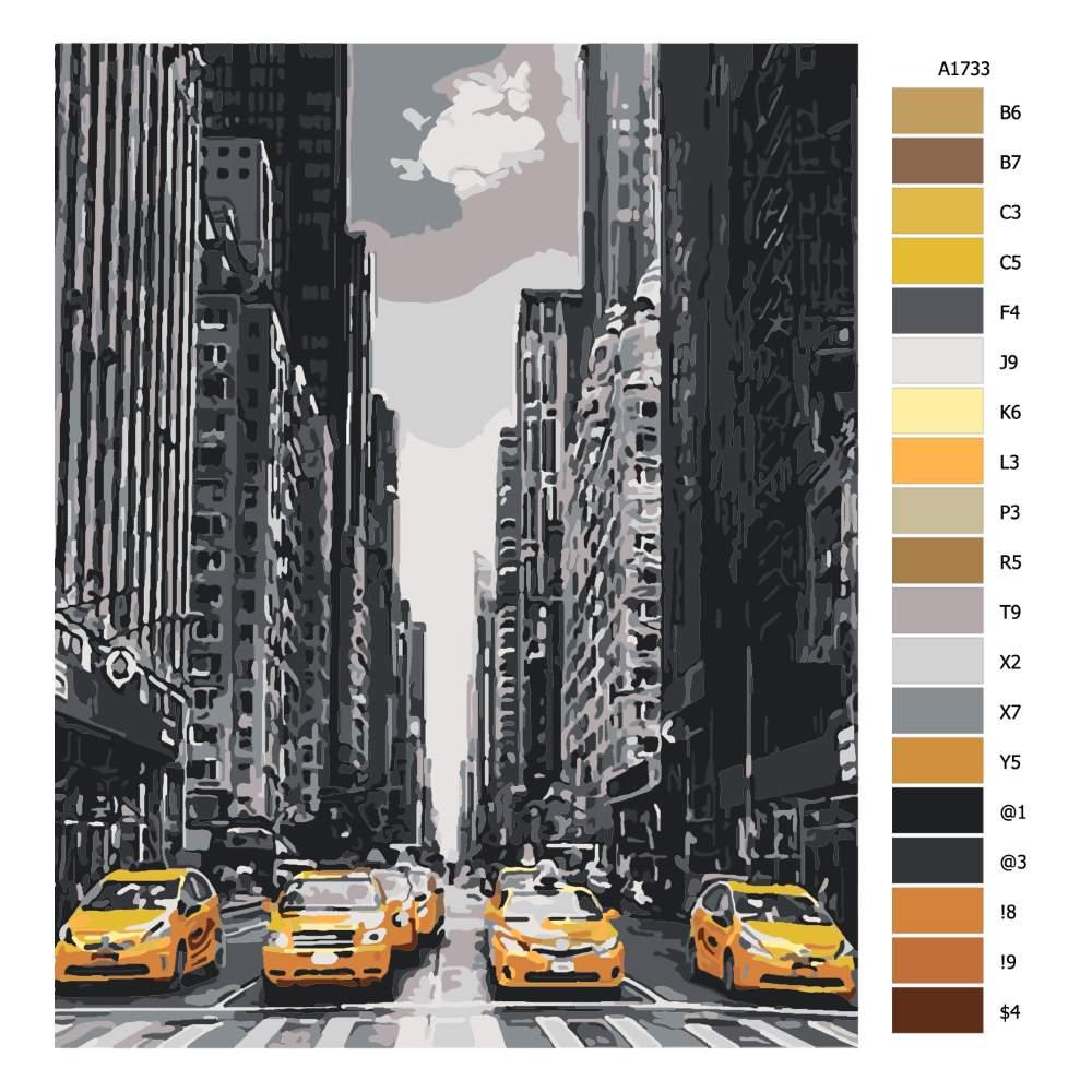 Návod pro malování podle čísel Taxíky v New Yorku