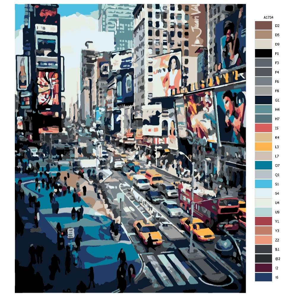 Návod pro malování podle čísel V New Yorku ve špičce