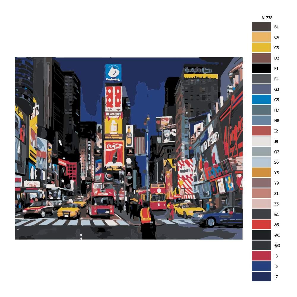 Návod pro malování podle čísel Time Square New York