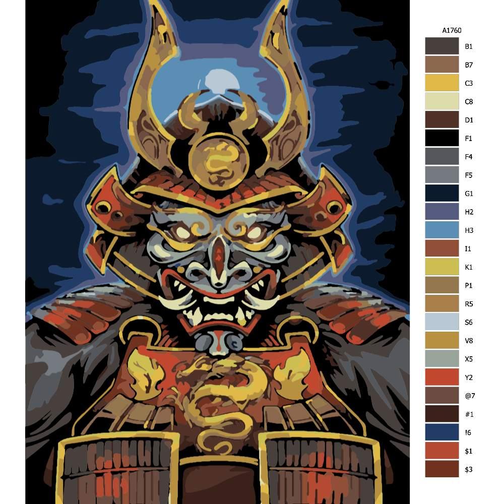 Návod pro malování podle čísel Dračí Samurai