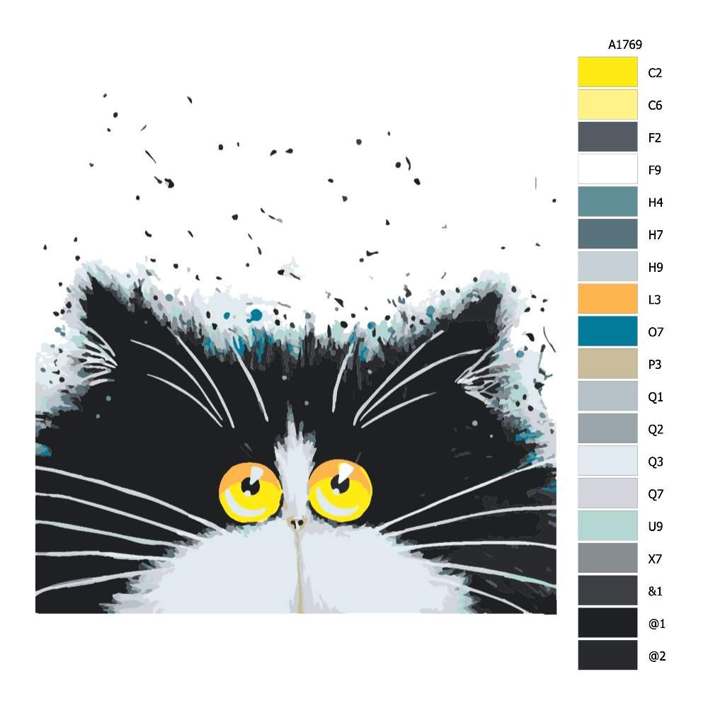 Návod pro malování podle čísel Chlupáč s velkýma žlutýma očima