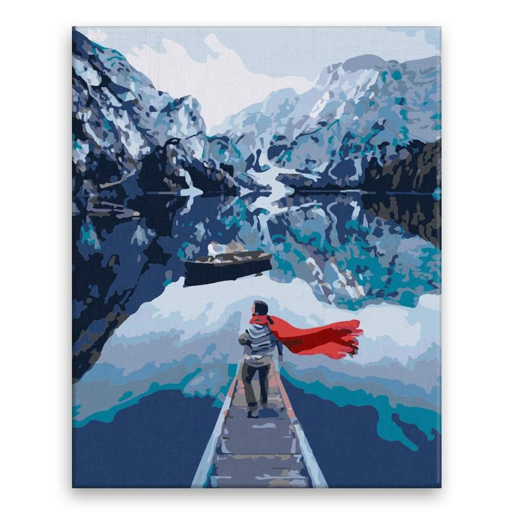Malování podle čísel Výhled na hory s červenou šálou