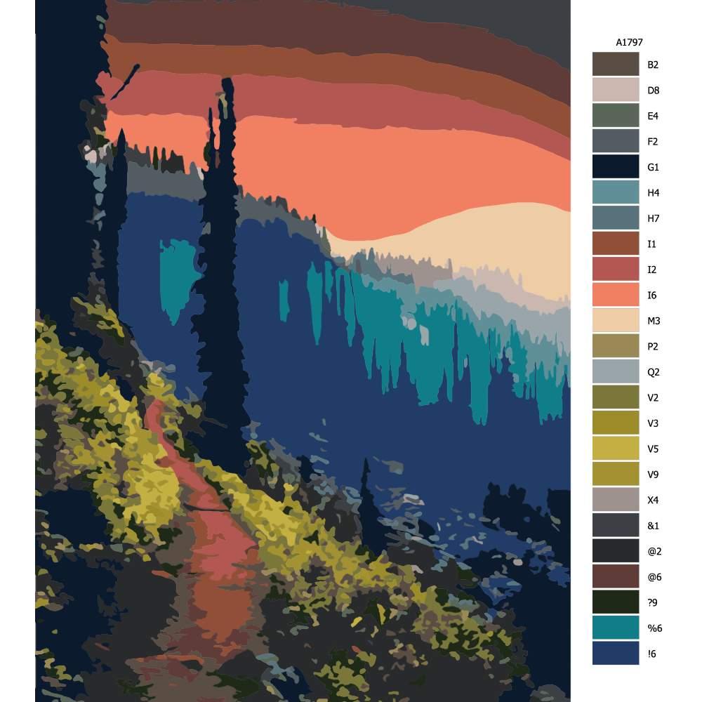 Návod pro malování podle čísel Cesta