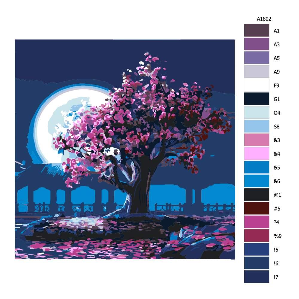 Návod pro malování podle čísel Růžové květy za úplňku