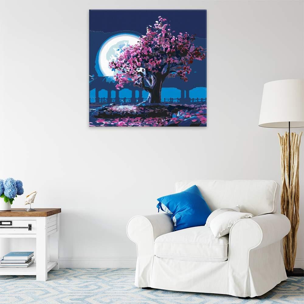 Malování podle čísel Růžové květy za úplňku