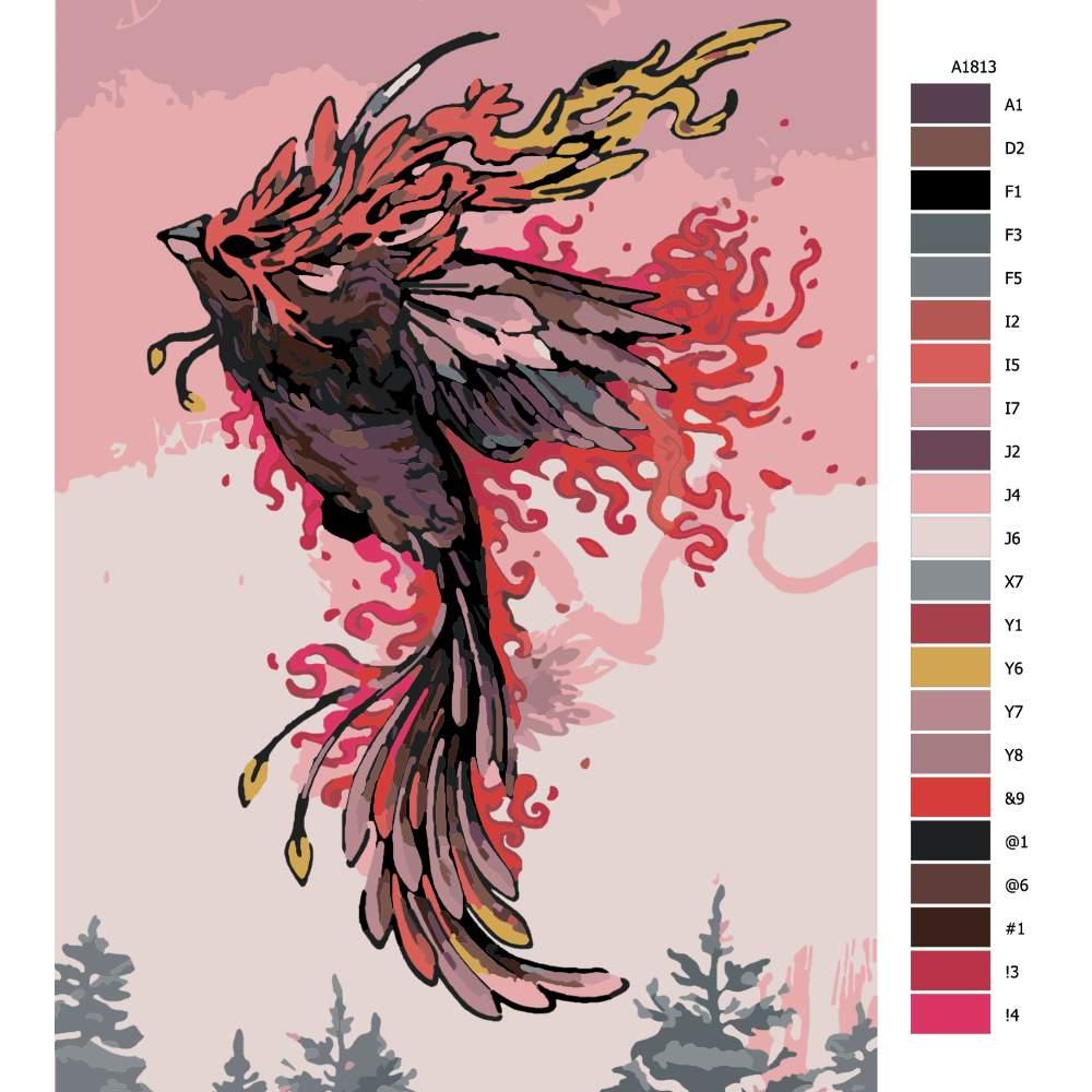 Návod pro malování podle čísel Fénix v růžové obloze