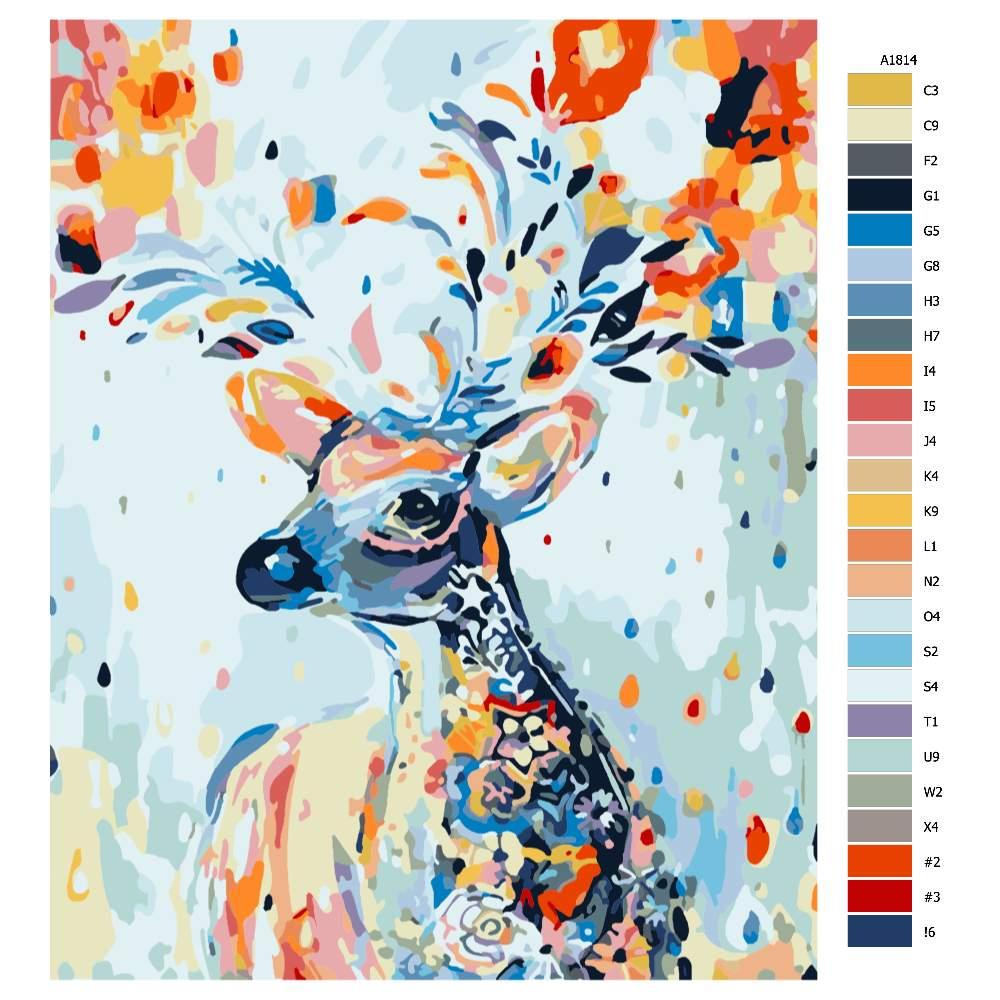 Návod pro malování podle čísel Král lesa v květinách