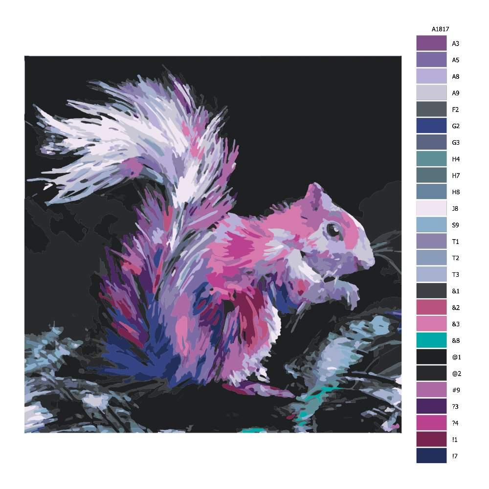 Návod pro malování podle čísel Růžová veverka