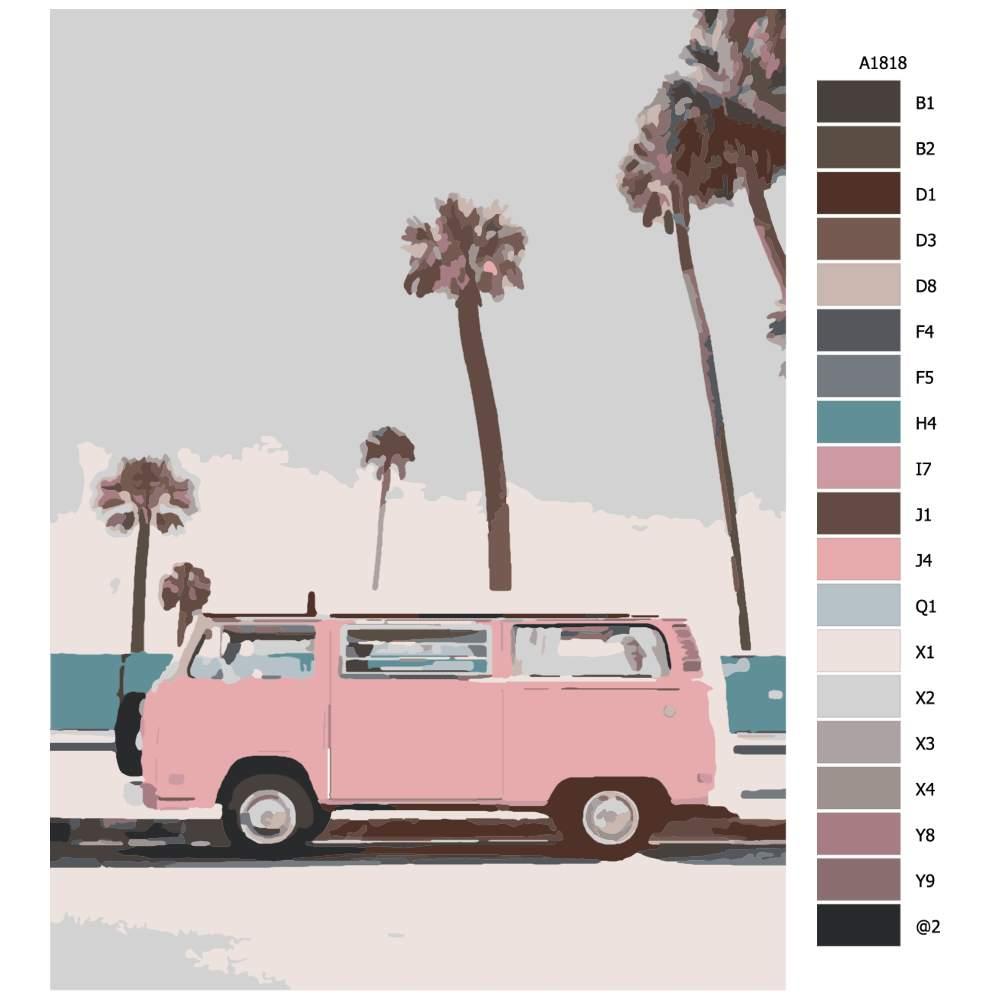 Návod pro malování podle čísel Růžový karavan