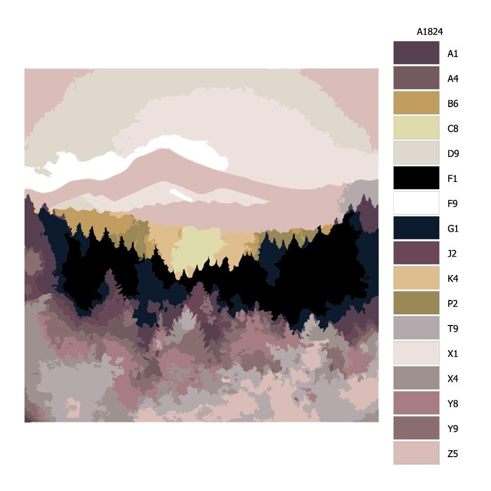 Návod pro malování podle čísel Barevně splývající příroda