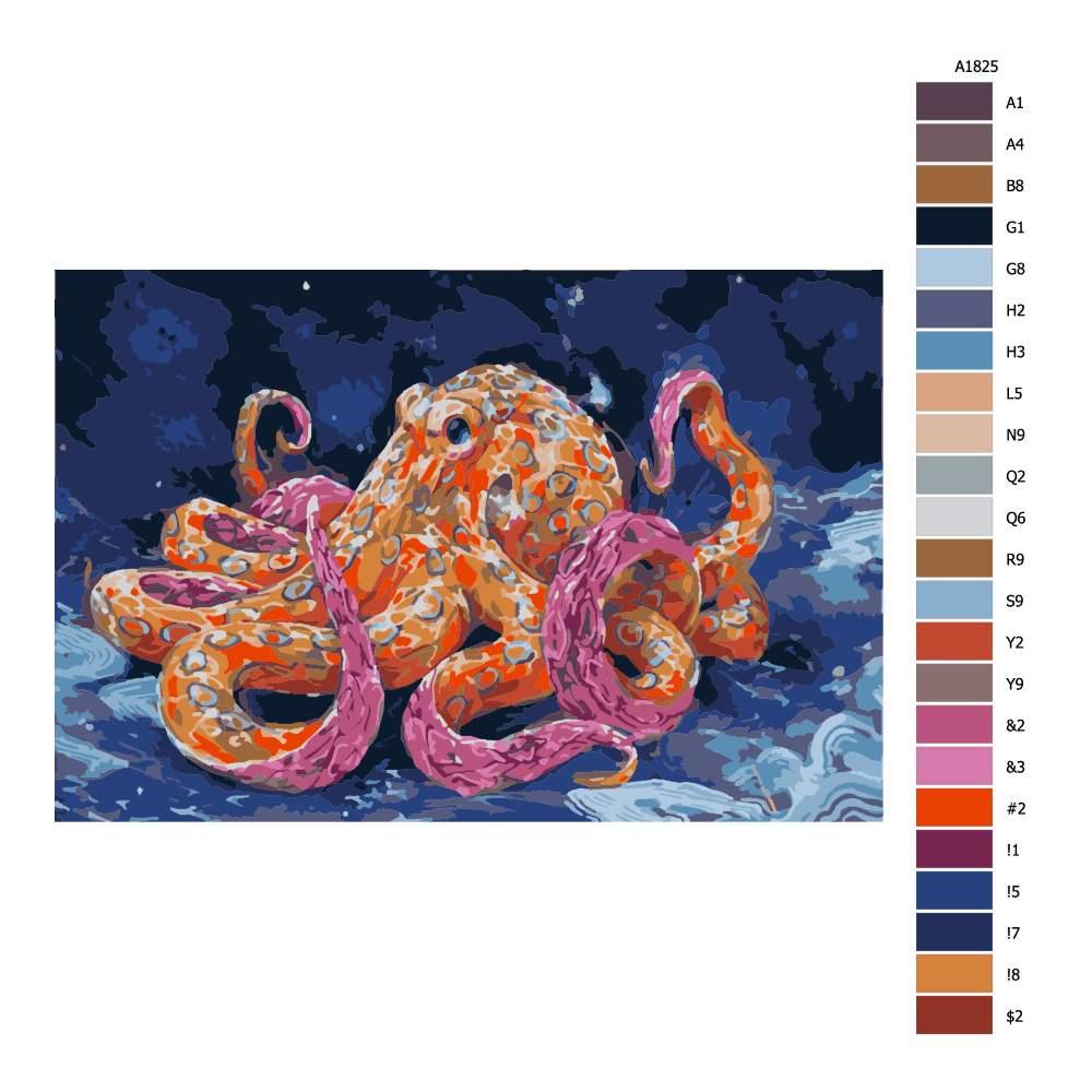 Návod pro malování podle čísel Kouzelná chobotnice