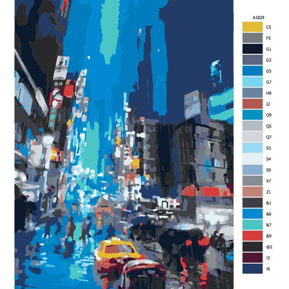 Návod pro malování podle čísel Večerní deštivé město