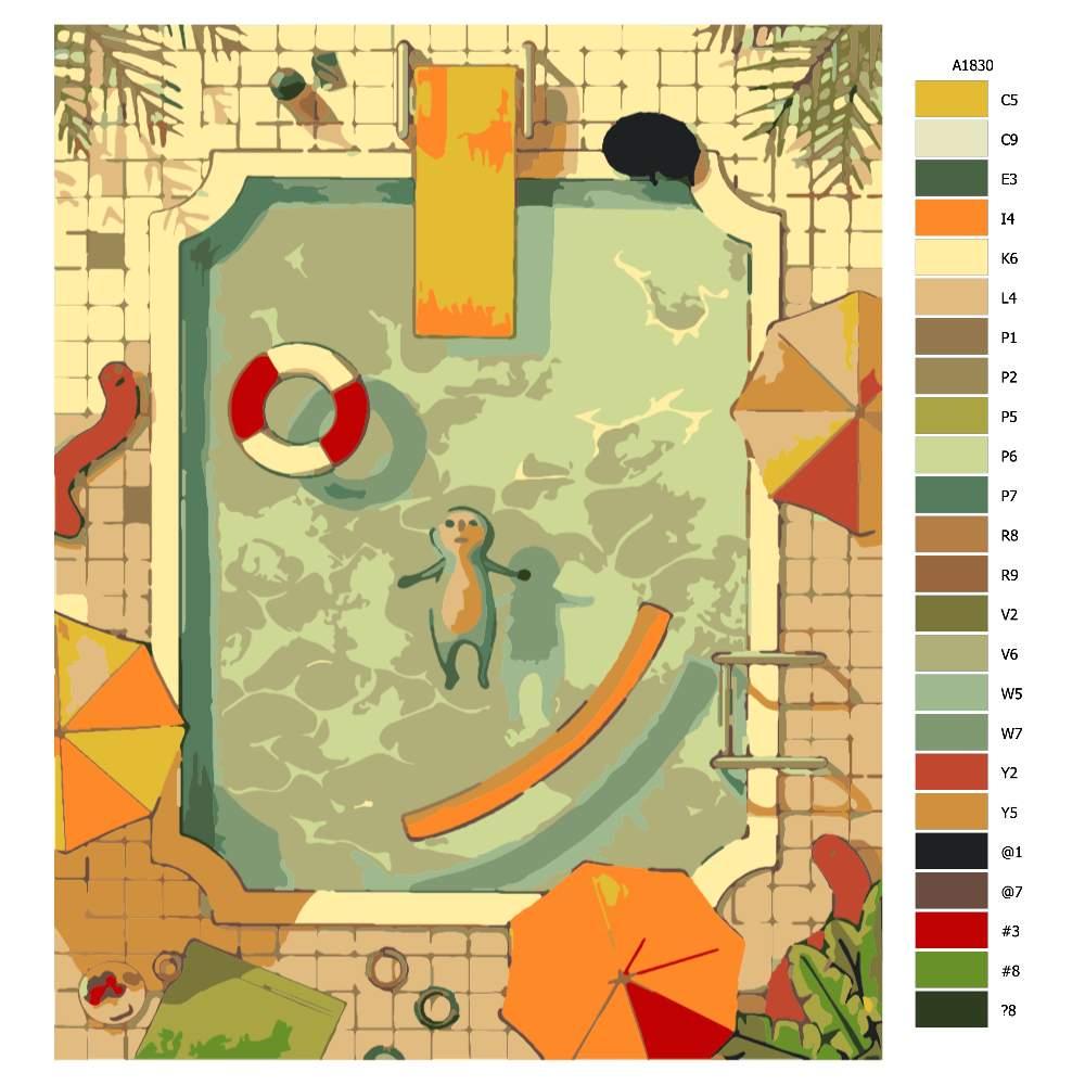 Návod pro malování podle čísel Sám v bazénu