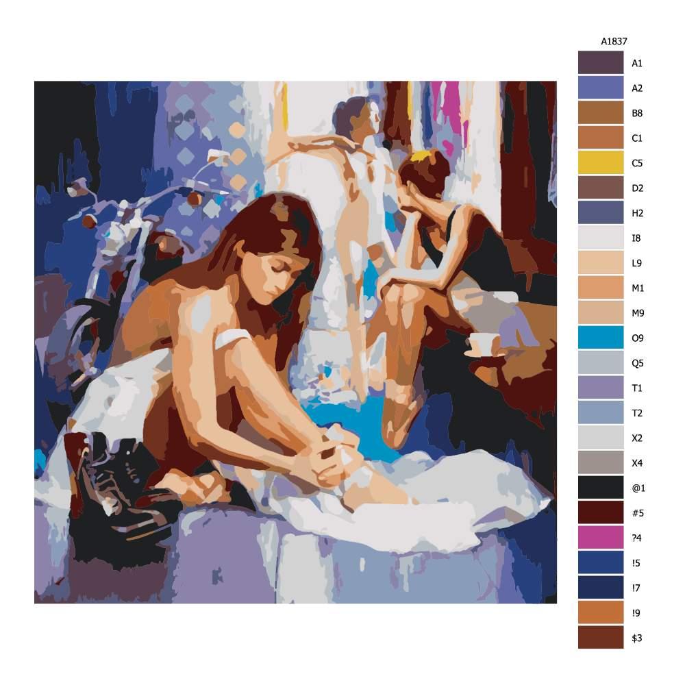 Návod pro malování podle čísel Baletní zákulisí