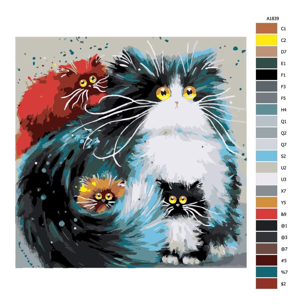 Návod pro malování podle čísel Kočka s koťaty