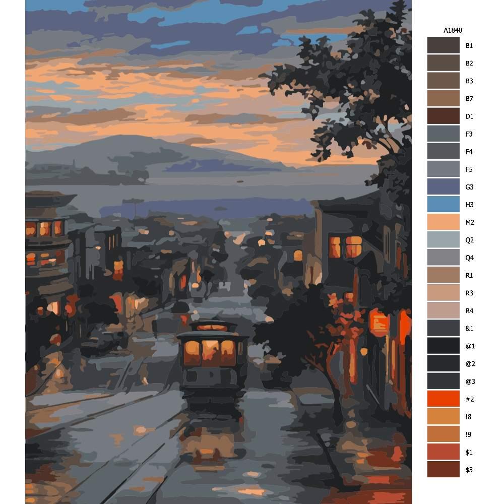 Návod pro malování podle čísel Poklidný večer