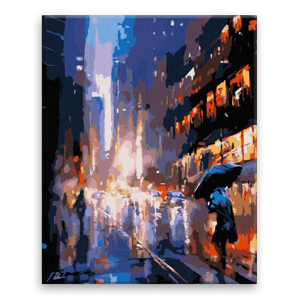 Malování podle čísel V dešti ve městě