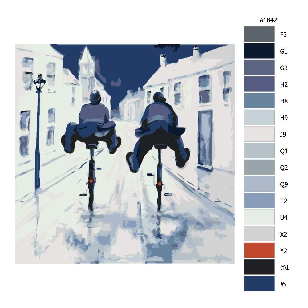 Návod pro malování podle čísel Komisaři na kolech
