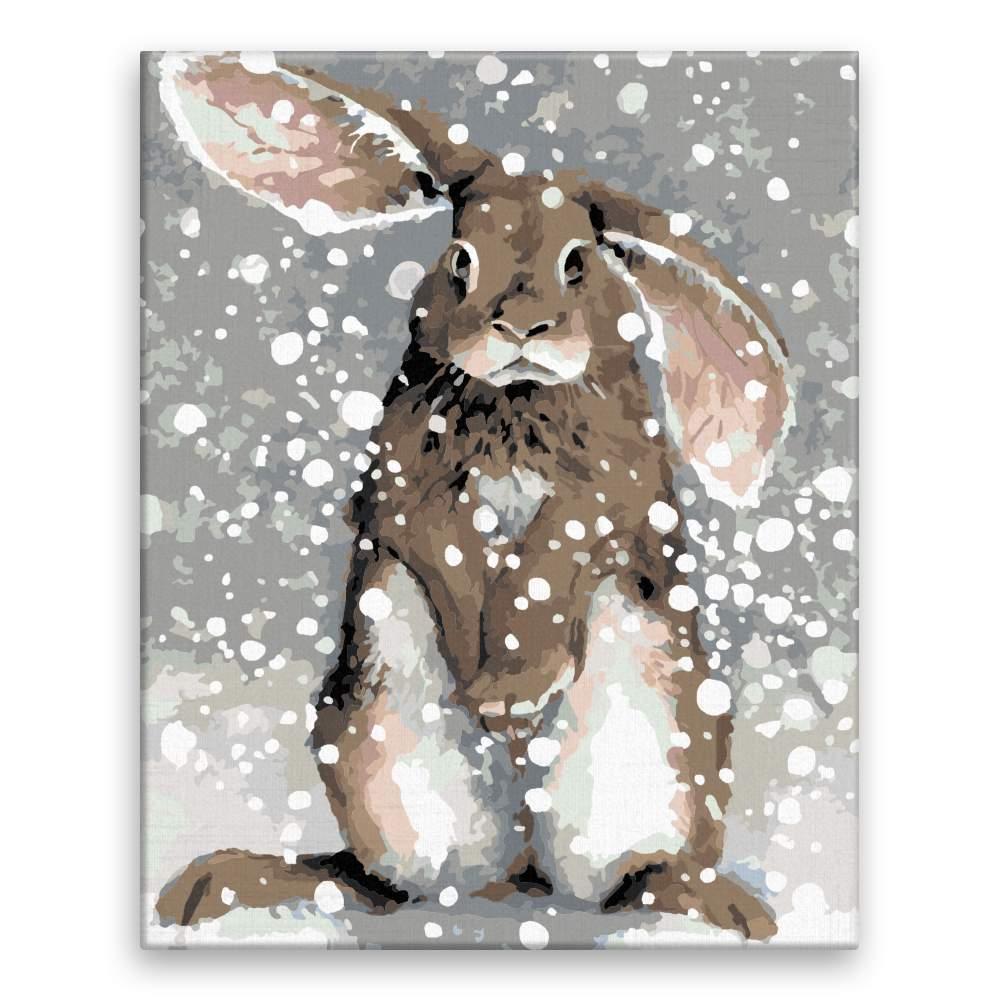 Malování podle čísel Ušatý králík ve sněhu